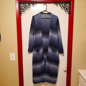 Joseph A. Blue Ombre Long Knit Cardigan